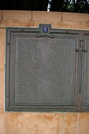 Auckland Grammar School War Memorial, WW2, Panel names Little John, W.L.G. - Moodie, W.A. (photo John Halpin, 2011) - CC BY John Halpin