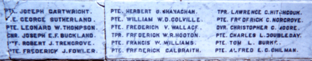 Featherston Cemetery Memorial name panel beginning Cartwright - No known copyright restrictions