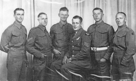 Group, WW2, 8 soldiers, studio photograph: left to right: Trooper Alan Ritchie, Corporal Rodney Shannon (KIA), Sergeant Noel Brady, Flight Sergeant Gordon Calendar (KIA), Cadet Tom War, and Trooper M. Patten. - This image may be subject to copyright