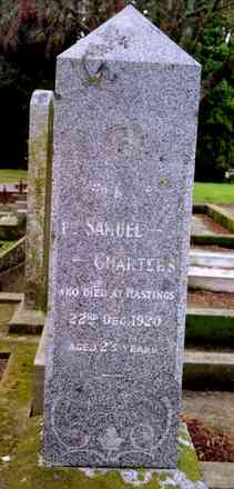 Family grave memorial, Hastings Cemetery, grave and memorial, face with inscription for Samuel (63717) - No known copyright restrictions