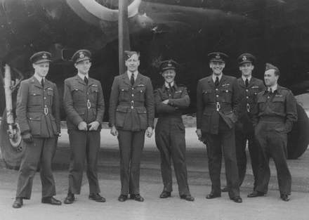 The photograph supplied by Mr A. Callander. Arch Callander and Norman Edwards served in 101 Squadron together. Arch Callander is second from the left and Norman Edwards is the third. - This image may be subject to copyright