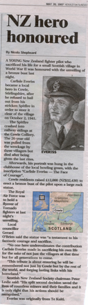 Newspaper clipping, details of a memorial unveiled in Cowie, Sterlingshire, Scotland, in memory of Pilot Officer Everiss, New Zealand Herald, 20 May 2007, p.12. - This image may be subject to copyright