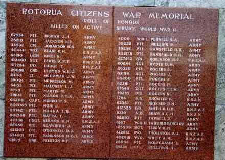 Rotorua Citizens War Memorial (World War 2), War Memorial Park names Ingram - Sullivan, T. (Photo G.A. Fortune 1999) - Image has All Rights Reserved