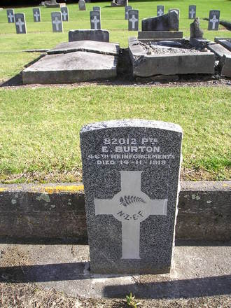 Gravestone, Featherston Cemetery (photo kindly provided by Adele Pentony Graham) - No known copyright restrictions