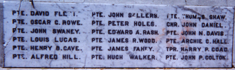 Featherston Cemetery Memorial, detail of names - No known copyright restrictions