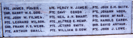 Featherston Cemetery Memorial name panel beginning Purdie - No known copyright restrictions
