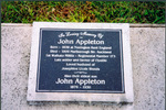 Headstone, Otahuhu Public Cemetery of John Appleton 1838-1909 and son John Appleton 1876-1930 (photograph Paul Baker 2008) - No known copyright restrictions