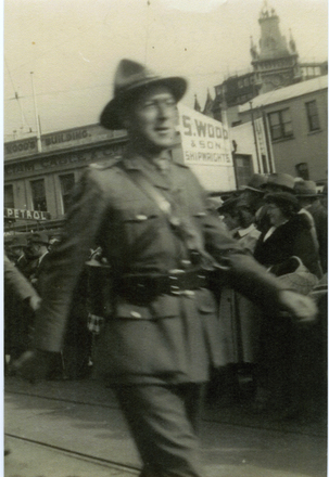 Portrait, 2nd Echelon marching prior to embarkation, 1 May 1940 (kindly provided by family) - This image may be subject to copyright
