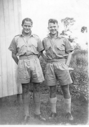 Group, 2 soldiers: Ian Cameron (L) and Jack Kirkwood (R), Fiji. - This image may be subject to copyright