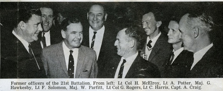 Photograph of former officers of 21 Battalion. From left: Lt Col H. McElroy, Lt A. Potter, Major G. Hawkesby, Lt F. Solomon, Major W. Parfitt, Lt Col G. Rogers, Lt C. Harris, Capt A. Craig. The Weekly News, Wednesday, 12 June 1963, p.32. - This image may be subject to copyright