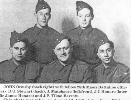 Image 1: John Ormsby (back right), D.O. Stewart (back), J. Matehaere (left/front), J.C. Henare and J.P. Tikao-Barrett. Photo taken on 12 August 1940, Trentham Military College. - This image may be subject to copyright