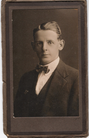Portrait, Studio photograph Gaze & Co, Hamilton, NZ. Horace Partington aged 20 appears to be taken not long after WW1, badge on lapel is unclear (kindly provided by family) - This image may be subject to copyright