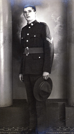 Portrait, Bertram Franklin Shepherd, full length with Sergeant's stripes - This image may be subject to copyright