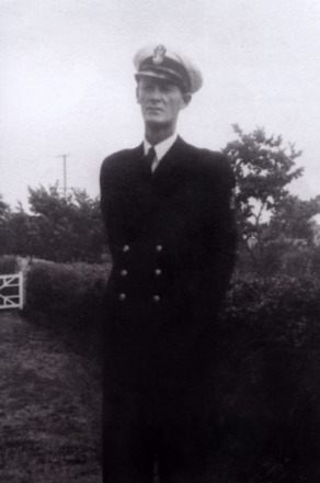 Portrait, in navy uniform standing outside, Ted (Edward) Aylward (kindly provided by family) - This image may be subject to copyright