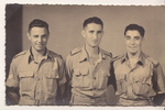 Group, three soldiers, Cairo, left to right: Harry Meltzer (632846), Gerald Meyer Green (667092), and Jack Jaffe (66123) (photo kindly provided by the Jaffe family) - This image may be subject to copyright