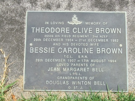 Image of Gravestone at Purewa Cemetery provided by Paul Baker December 2013 - This image may be subject to copyright