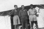 Group, 3 soldiers, WW2, Maori Battalion, Portrait, Sir Charles Bennett, commander Maori Battalion, in the middle standing outside tents. Image provided by Paul Baker, January 2008. - This image may be subject to copyright