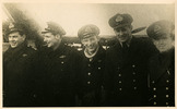 """Group WW2: l - r - Duncan Dumo?, Sam Leonard, """"Red"""" Hayter"""", Malcolm Kelly, John Mayhead - This image may be subject to copyright"""