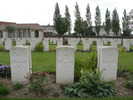 Headstones Row, Cite Bonjean Military Cemetery, Cite Bonjean Military Cemetery: Aldridge,RB; Newton,FJ; East, AF (photo R Young September 2007) - No known copyright restrictions