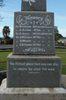 Maungakaramea War Memorial, North West face, WW1 names (June 2010) - No known copyright restrictions