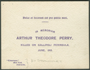 Commemorative card, Arthur Theodore Perry (3/140) killed on Gallipoli Peninsula June 1915 - No known copyright restrictions