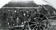 Group, WW1, Sub gun crew, Kalk, 26 January 1919. top row from left is Rope, Hecla Wallis, Stokes, Hamilton, Jones. Bottom Row: Bennet, Stace, Herron. - No known copyright restrictions
