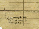 POW portrait Back, address J.W. Mayhead, 33 Stirling St, Remuera - This image may be subject to copyright