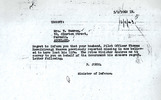 Condolence letter, from the Minister of Defence to next of kin. - This image may be subject to copyright