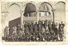Group Portrait of officers on the step leading up to the Dome of the Rock while on leave in Jerusalem, 19 February, 1941. Brigadier Varnham is in the middle of the middle row. Other men not yet identified. Image may be subject to copyright restrictions.