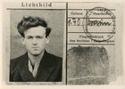 """POW identity card No 0603 Oflag Luft 3 front: John W Mayhead photo with """"Officially Interrogated"""" stamp - This image may be subject to copyright"""