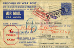 Prisoner of War Post aerogramme, Stalag Luft III front: from Miss E. Finkler dated August 8, 1944 via Red Cross Geneva. - This image may be subject to copyright