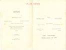 Menu, inside pages: HMT Strathhaird (P&O), Porchester Castle illustration, dated Monday January 8th 1940.  Image may be subject to copyright restrictions.