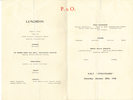 Menu, inside pages: HMT Strathhaird (P&O), Bridge of Sighs illustration, dated Saturday January 20th 1940. Image may be subject to copyright.