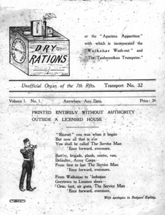 "HMNZT 32 - Dry rations or the ""Aparima apparition"" with which is incorporated the ""Waikanae wash-out"" and ""The Tauherenikau trumpeter."" : unofficial organ of the 7th Rfts. Transport no.32 -- Ceylon : The Times of Ceylon Company : [1915]. No Known Copyright Restrictions."