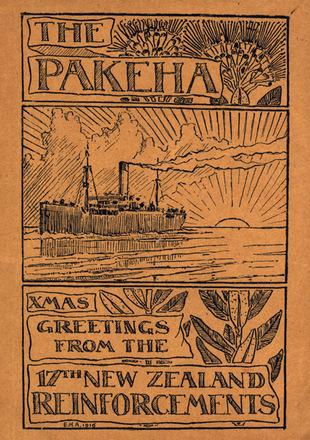 """HMNZT 65 - Pakeha : the journal of the Seventeenth Reinforcem...M.N.Z. Transport 65 (S.S.""""Pakeha""""). Pilling, E.G. (Ewen George), editor. McGhie, J.G. (John Gordon), editor. Bell, R.B. (Robert Brown), editor. -- At sea : Officers and men, 17th Reinforcements : 1916. No Known Copyright Restrictions."""