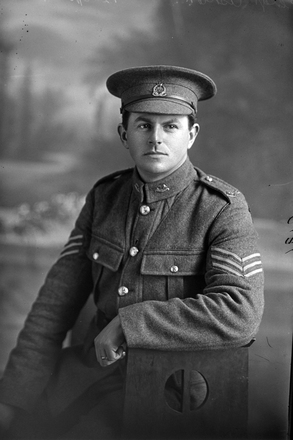3/4 portrait of Sergeant Ashton, probably Sergeant Norman Ashton, Reg No 24323, of the 17th Reinforcements,  Auckland Infantry Regiment, J Company, (Corporal in the Roll of Honour), killed in action in France on 4 October 1917, at the Battle of Passchendaele. (Photographer: Herman Schmidt, 1916). Sir George Grey Special Collections, Auckland Libraries, 31-A1810. No known copyright.