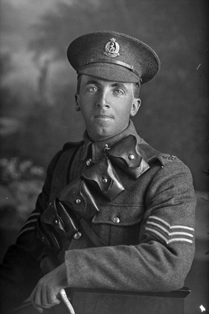 3/4 portrait of Sergeant Stanley Wellington Bagnall, Reg No 17362, New Zealand Mounted Rifles 18th Reinforcements. (Photographer: Herman Schmidt, 1916). Sir George Grey Special Collections, Auckland Libraries, 31-B1913. No known copyright.