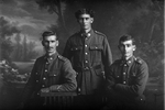 3/4 portrait of Boler group showing Charles Robert Boler [Previously identified as Albert Leonard Boler] (left), Private Edward Claude Boler, Reg No 51680, Auckland Infantry Regiment, - A Company, 27th Reinforcements (centre) and George Henry Boler (right) (Photographer: Herman Schmidt, 1917). Sir George Grey Special Collections, Auckland Libraries, 31-B2996. No known copyright.