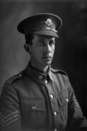 1/4 portrait of Sergeant Major Frederick Widdowson Doidge, Reg No 20913, of the Auckland Infantry Battalion, - A Company. 18th Reinforcements. (Photographer: Herman Schmidt, 1916). Sir George Grey Special Collections, Auckland Libraries, 31-D1947. No known copyright.