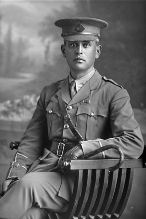 3/4 portrait of 2nd Lieutenant Henare Mokena Kohere, Reg No 16/1018, of the 2nd Maori Contingent, New Zealand Maori Pioneer Battalion, wearing campaign medals. Died of wounds in France on 16 September 1916. (Photographer: Herman Schmidt, 1915). Sir George Grey Special Collections, Auckland Libraries, 31-K2804. No known copyright.