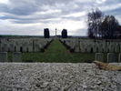 View with Cross of Sacrifice, Queens Cemetery, Bucquoy, Pas-de-Calais, France, Andrew Scott (47768). No Known Copyright.