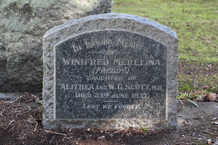 Headstone, Winifred (Freddy) Merelina Scott (22/59), Holy Trinity (Anglican) Church, Memorial Park, Otahuhu, Auckland. No Known Copyright.