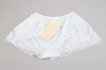 tap pants, white nylon with deep floral scalloped ...
