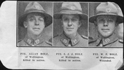 Portrait of Holz Brothers from Wellington. From left to right, William Holz (39536) -incorrectly identified as Allan, Ernest Holz (39535) & Allan Holz (39534) - incorrectly identified as William. Courtesy of the Auckland Weekly News. Image has no known copyright restrictions.