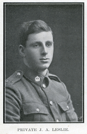 Portrait of J. A. Leslie. Auckland Grammar School chronicle. 1917, v.5, n.1. Image has no known copyright restrictions.