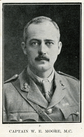 Portrait of W. E. Moore. Auckland Grammar School chronicle. 1918, v.6, n.1. Image has no known copyright restrictions.