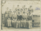 Charlotte Le Gallais with her orderlies on the Maheno. Front row: l-r Clara Hawkins, Unknown, Matron Evelyn Brooke RRC & Bar, Sister Margaret Tucker, uknown. Middle right (extreme right) Charlotte LeGallais. Back row Mary Gould (second from the left). Le Gallais family. Auckland War Memorial Museum Library. PH-1995-2-21. No known copyright restrictions.