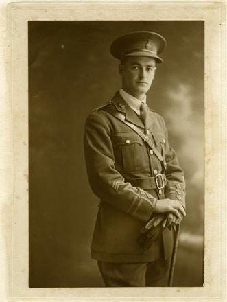 3/4 length portrait of Lieutenant Leslie May (4/1230) Detail. Main Body, New Zealand Tunnelling Company (wounded). May, Stan. Materials relating to service in World War II. Auckland War Memorial Museum Library. MS-93/157. Image has no known copyright restrictions.