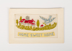 embroidered card, WW1: Home Sweet Home, with Wales...