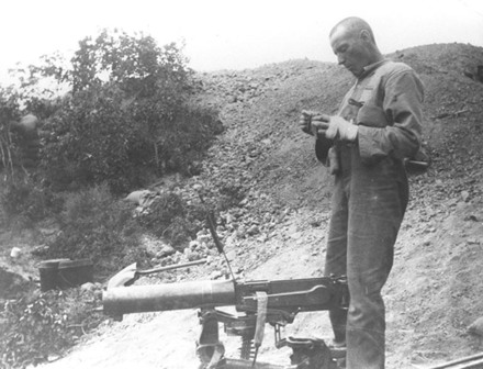 Unknown, photographer. Cobbe [sic] W.M.R.M.G. with Turkish machine gun. Williams Albums 212. Auckland War Memorial Museum - Tamaki Paenga Hira. PH-ALB-212-p4-1. Image has no known copyright restrictions. A copy of this image is also held in the Turnbull Library: Read, James Cornelius, 1871-1968. Trooper Walter Cobbe with captured Turkish machine gun, Gallipoli, Turkey. Read, J C :Images of the Gallipoli campaign. Ref: 1/4-058062-F. Alexander Turnbull Library, Wellington, New Zealand. http://natlib.govt.nz/records/23028872
